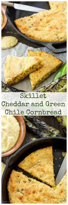 Skillet Cheddar and Green Chile Cornbread | Moist cornbread with a ...