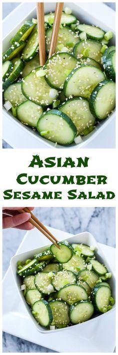 Asian Cucumber Sesame Salad | This fresh, gluten free, vegan cucumber salad is full of delicious Asian flavors!