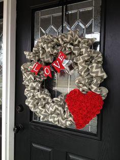 Fun Valentine Wreath! Chevron And Burlap Are So In Right Now!