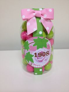 Alpha Kappa Alpha Inspired Jar of Gumballs by YourSocialSecretary, $10.00