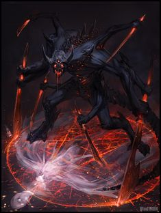 A demon summoned or perhaps caged by runes, #urbanfantasy #fantasy inspiration  by http://vladmrk.deviantart.com/art/Asmdian-Regular-version-sketch-451483302