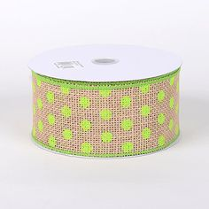 Natural with Lime Dots Design Burlap ‪#‎Ribbon‬  Size: 2-1/2 Inch * 10yds  Price: $ 10.91