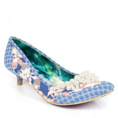 ac6c4875bd7 Feel pretty with Pearly Girly! This delightful kitten heel features floral  printed fabric with scalloped trim and tiny pearls lining the toe.