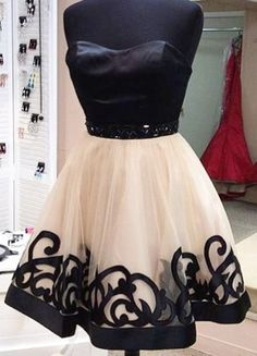 Black And Champagne Tulle Short Prom Dresses, Prom Dresses 2016, #prom, #promdresses2016