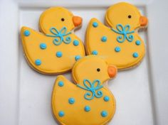 Custom Rubber Duck Cookies 1 dozen. $30.00, via Etsy.