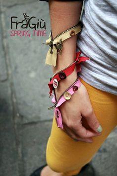 Zip bracelet by FraGiù handmade. https://www.facebook.com/fragiuhandmade