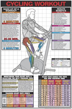 STATIONARY CYCLING WORKOUT Wall Chart Poster - Available at www.sportsposterwarehouse.com