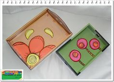 Pinceladas al aire Painted Wood Chairs, Painted Wooden Boxes, Painted Trays, Hand Painted, Decoupage Furniture, Paint Furniture, Stick Art, Baby Drawing, Decoupage Vintage