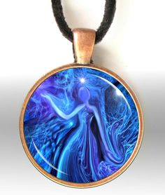 Blue Pendant Necklace, Energy Art, Reiki Jewelry, Lightworker Aura