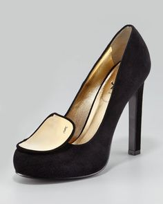YSL Metal-Plate Loafer Pump. #NMFallTrends