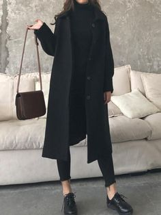 Fashion Casual Loose Solid Color Jumpsuits New Black Pockets Turndown Collar Long Sleeve Fashion Coat.Fashion Casual Loose Solid Color Jumpsuits New Black Pockets Turndown Collar Long Sleeve Fashion Coat Look Fashion, Korean Fashion, Fashion Coat, Fall Fashion, Womens Fashion, 80s Fashion, Fashion 2018, Fashion Clothes, Fashion Brands