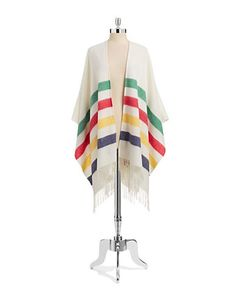HBC Collections   HBC Coats & Accessories   Wool Striped Poncho   Hudson's Bay