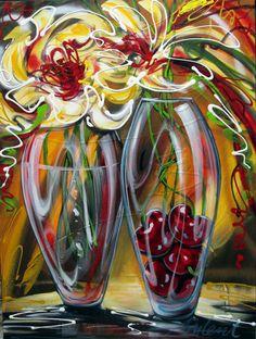 Art Floral, Daniel Vincent, Flower Artwork, Digital Illustration, Vintage Posters, Vase, Photos, Pictures, Abstract Art