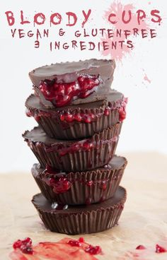 Bloody Cups for Halloween (Raspberry Chocolate Cups) | http://ElephantasticVegan.com