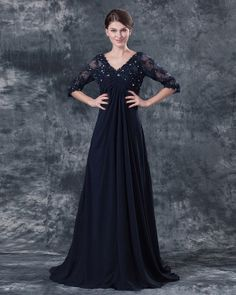 Pleated V-Neck Chiffon Floor Length Mothers Of Bride Guests Dress