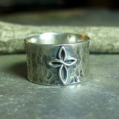 Infinity Cross - Sterling silver wide band ring with cross