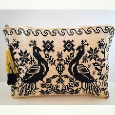 Peacock  purse, handmade embroidery
