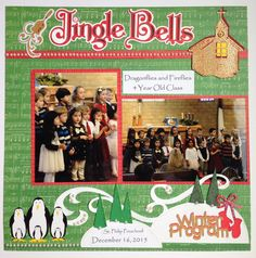 Cricut - penguins and kids all in a row.  winter program Jingle Bells