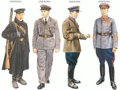 World War II Uniforms - USSR/Russia – 1939 Sep., Archangel, Seaman, Northern Fleet USSR/Russia – 1940 Jan., Kiev, Colonel, Armoured Division USSR/Russia – 1940 June, Kiev, Major, Red Army Air Force USSR/Russia – 1940 June, Moscow, Marshal of the Soviet Union, Kiev Military District