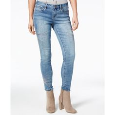 Rampage Juniors' Sequined Skinny Jeans ($20) ❤ liked on Polyvore featuring jeans, rochas, sequin jeans, 5 pocket jeans, white skinny leg jeans, cut skinny jeans and skinny fit jeans