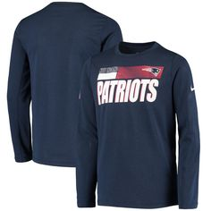 Bring the sideline atmosphere at New England Patriots games to your youngster's wardrobe with this Sideline T-shirt from Nike. It features Dri-FIT technology to give them the same performance fabrics that their favorite players train with every day. This tee is also designed with a crisp New England Patriots wordmark and logo to make sure your kiddo's fandom is easily recognizable on game day. New England Patriots Game, Crisp, Youth, Fandom, Fabrics, Train, Technology, Navy, Logo