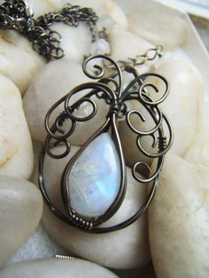 Moonstone Sterling Silver Wire Wrap Necklace