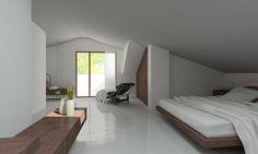 www.rddarchitecture.com Cool white interior suite. Minimalist architecture in attic conversion