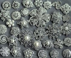 20 Rhinestone Button Brooch Large Top Quality Embellishment Pearl Crystal Wedding Bouquet Brooch FREE Combine Shipping US BT163 on Etsy, $33.98