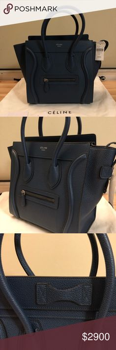 Celine Micro Luggage Tired of black in your closet?  Here's a perfect one for you!  New Celine Micro Luggage handbag in baby drummed calfskin, comes with tags, dust bag.  Never used.  Purchased from Barneys New York. 100% Calfskin, 100% Suede Calfskin lining. 100% authentic. Price is negotiable if 🅿️🅿️. Celine Bags Satchels