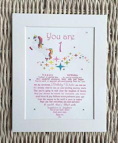 Girls First Birthday Unframed Print Unicorn 1st Gift Grandchild Godchild Niece A4
