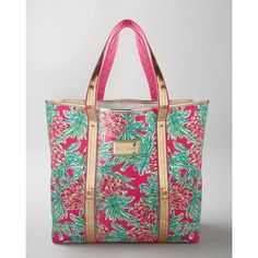 """Lilly Pulitzer Pink """"Spike Punch"""" Tote ❤ liked on Polyvore"""