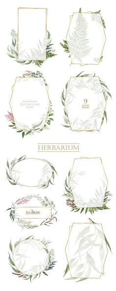 Watercolor Frames Leaves Pre-made clipart green floral gold geometry herbarium leaf wild herbs wedding bridal template invitations Motif Floral, Arte Floral, Invitation Design, Invitation Cards, Floral Invitation, Invites, Framed Leaves, Reclaimed Wood Wall Art, Wedding Inspiration