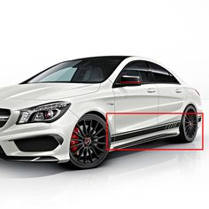 genuine mirror trim & lateral film set of the CLA 45 AMG Edition 1 for the Mercedes-Benz CLA Cla 45 Amg, Mirror Trim, Mercedes Benz Amg, Car Wrap, Sporty Look, Sheet Sets, The Originals, Wrapping, Cars