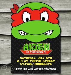 Printable Teenage Mutant Ninja Turtles Inspired Birthday Invitation Vol 1