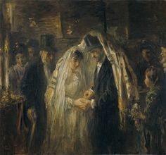 Talit as chuppah. This painting, from is in the Rijksmuseum. Judging from the groom's top hat, the couple are members of the Spanish-Portuguese Synagogue in Amsterdam. Jewish History, Jewish Art, Art History, Mondrian, Pablo Picasso, Arte Judaica, Fiddler On The Roof, Wedding Painting, Dutch Painters