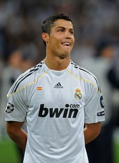 Cristiano Ronaldo of Real Madrid smiles prior to the Champions League...