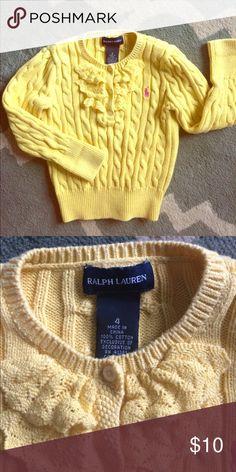 Ralph Lauren Sweater Beautiful yellow cable knit sweater. Three buttons and pink pony! EUC size 4 in girls. Runs small, more like a 3! Ralph Lauren Shirts & Tops Sweaters