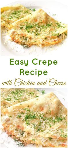 Filled with a mixture of chicken and cheese, this easy crepe recipe will make a great lunch or dinner. A perfect way to use up some chicken leftovers. #chickencrepes #crepes #pancakes
