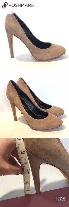 Nude suede dolce vita heels with hidden platform Elongate your legs with these sky-high sexy nude heels.   The tan suede Dolce Vita heels go with any outfit for any occasion.   They feature a five inch heel with a one inch hidden platform. Real leather uppers and soles. Almond shaped toe.   Wonderful preloved condition. Worn twice. Heel taps in great condition, sole shows some wear (pictured), and a small spot on inner right shoe (pictured). Dolce Vita Shoes Heels