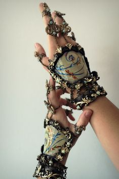 This is a one of a kind item Inspired by baroque rococo style, these Marie Antoinette hand pieces will finish any costume. Hand made by candy makeup artist Hand Jewelry, Unique Jewelry, Best Costume Design, Blue Corset, Candy Makeup, Rococo Style, Faux Stained Glass, Cool Costumes, Baroque