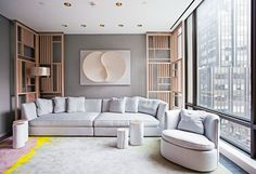 A Korean paper sculpture by artist Kyung Jeon anchors the serene spa relaxation area with a custom-designed Tai Ping carpet and Gervasoni furniture. Flat Interior, Office Interior Design, Luxury Interior Design, Office Interiors, Asian Interior, Spas, Living Room Decor, Living Spaces, Sofa Design