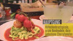 Rezept: Hähnchenbrustspirale mit Rucolapesto in Tomaten - Honig - Chili - Soße