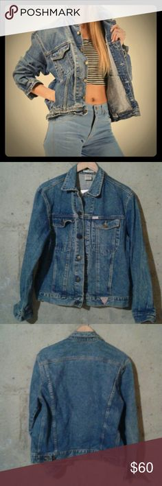 """80's Vintage Guess Marciano Jean Jacket 80's Guess Jean Jacket, Sz M, I believe it is a men's, or an oversized fit. Medium wash. No flaws...amazing vintage denim! Bust approx 42"""", length 25"""". Vintage Jackets & Coats Jean Jackets"""