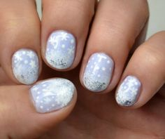 winter themed nail art with Avon Gel shine Rain Washed, China Glaze White on White, OPI Turn On The Haute Light, Ciaté Speed Coat Fast Dry Top Coat