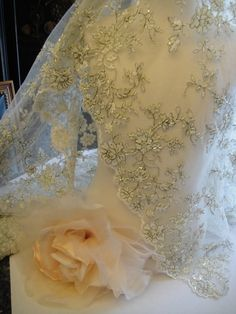 Ivory Lace ,Bridal lace, Ivory with sage threading, vintage lace,