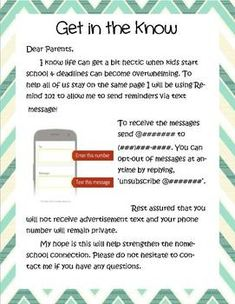 Parent Communication App Editable Letter Template
