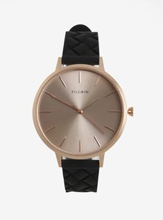Dámské pozlacené hodinky v růžovozlaté barvě s černým silikonovým páskem Pilgrim