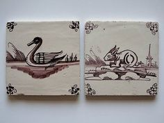 2 Antique Dutch Delft Tiles with A Rabbit and Elegant Swann Farmyard Animals | eBay