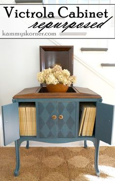 Kammyu0027s Korner: Victrola Cabinet Repurposed {Blue Harlequin} To Book  Case/shelves And. Blue Chalk PaintFurniture RepairRecycled ...