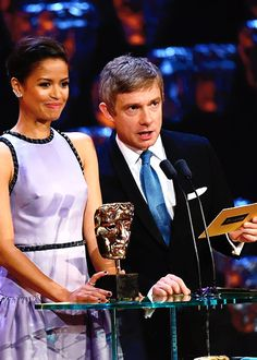 """love-in-mind-palace: """" gifthescreen: """"""""Gugu Mbatha-Raw and Martin Freeman onstage at the EE British Academy Film Awards at The Royal Opera House on February 8, 2015 in London, England """" """" *sigh* """""""